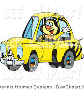 Vector Clip Art of a Happy Bumble Bee Character Waving While Driving by in a Matching Car by Dennis Holmes Designs