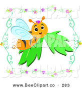 Vector Clip Art of a Happy Bumble Bee Resting on a Leaf in a Floral Border by Bpearth