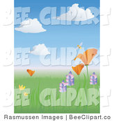Vector Clip Art of a Happy Bumble Honey Bee Buzzing Above a California Poppy in a Meadow of Wildflowers in Springtime by Rasmussen Images