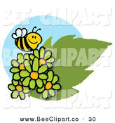 Vector Clip Art of a Happy Bumblebee Flying over Green Daisies by Hit Toon