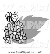 Vector Clip Art of a Happy Grayscale Honey Bee Flying over Daisies by Hit Toon