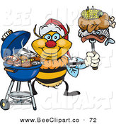 Vector Clip Art of a Happy Grilling Bumble Bee Wearing a Santa Hat and Holding Food on a BBQ Fork by Dennis Holmes Designs