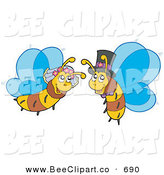 Vector Clip Art of a Happy Honey Bee Bride and Groom by Visekart
