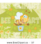 Vector Clip Art of a Happy Honey Bee Flying with a Bucket over Flowers by Hit Toon