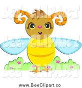 Vector Clip Art of a Happy Horned Bee by