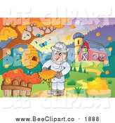 Vector Clip Art of a Happy Male Bee Keeper by a Barn in Autumn by Visekart