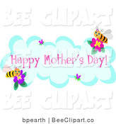 Vector Clip Art of a Happy Mothers Day Cloud and Bees by