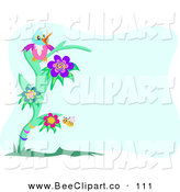 Vector Clip Art of a Happy Parrot Atop a Flowering Green Tree, with a Honey Bee by