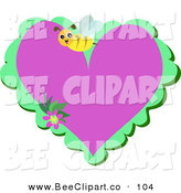 Vector Clip Art of a Happy Yellow Honey Bee over a Purple and Green Heart by