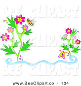 Vector Clip Art of a Helpful Bee Wearing Glasses by Flowers and a Butterfly by