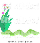 Vector Clip Art of a Honey Bee and Flower Stationery Corner by Bpearth