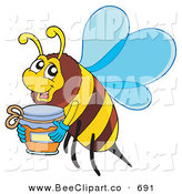 Vector Clip Art of a Honey Bee Carrying a Jar to the Left by Visekart