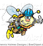 Vector Clip Art of a Honey Bee Drone Character Construction Worker Wearing a Hardhat by Dennis Holmes Designs
