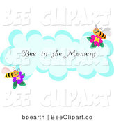 Vector Clip Art of a Honey Bee in the Moment Greeting on a Cloud by