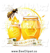 Vector Clip Art of a Honey Bee with Jars and a Guaranteed Banner by Merlinul