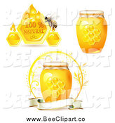 Vector Clip Art of a Honey Bee with Jars by Merlinul