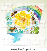 Vector Clip Art of a Honey Bees Natural Honeycombs in a Rectangular Rainbow Floral Frame by Merlinul