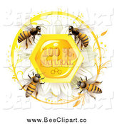 Vector Clip Art of a Honey Bees over a Natural Honeycombs Text with a Daisy by Merlinul