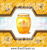 Vector Clip Art of a Honey Bees with a Jar and Pattern of Clovers by Merlinul