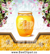 Vector Clip Art of a Honey Bees with Flowers, a Jar and Pattern of Clovers by Merlinul