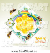 Vector Clip Art of a Honey Bees with Natural Honeycombs in a Diamond Rainbow Floral Frame by Merlinul