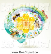 Vector Clip Art of a Honey Bees with Natural Honeycombs in an Oval Rainbow Floral Frame by Merlinul