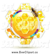 Vector Clip Art of a Honey Comb Flower and Bee by Merlinul