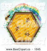 Vector Clip Art of a Honey Comb Hexagon with Bees and a Rainbow on Blue by Merlinul