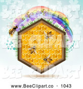 Vector Clip Art of a Honeycomb Hexagon with Bees and a Rainbow on Blue by Merlinul