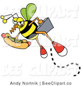 Vector Clip Art of a Hungry Business Bee Carrying a Briefcase and a Hotdog with Mustard and Relish by Andy Nortnik