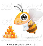 Vector Clip Art of a Hungry Yellow Bee with a Bib, Flying by Honey Drops by Qiun
