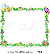Vector Clip Art of a Insect Bug and Floral Frame, on White by
