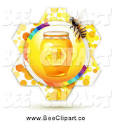 Vector Clip Art of a Jar of Honey and a Bee over a Flower by Merlinul
