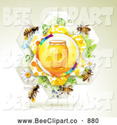November 22nd, 2013: Vector Clip Art of a Jar of Honey in a Flower Wth Bees by Merlinul