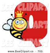 Vector Clip Art of a Letter Q with a Happy Queen Bee by Hit Toon