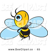 Vector Clip Art of a Little Blue Eyed Bee on a White Background by Lal Perera
