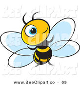 Vector Clip Art of a Little Blue Eyed Bee Smiling and Looking up by Lal Perera