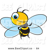 Vector Clip Art of a Little Blue Eyed Bee Smiling on White by Lal Perera