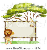 Vector Clip Art of a Male Lion and Bee with a Stretched Sign by Colematt