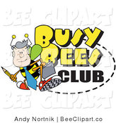Vector Clip Art of a Male Worker Drone Bee with a Pencil and Briefcase on a Busy Bees Club Sign by Andy Nortnik