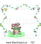 Vector Clip Art of a Mouse Centered Within a Floral Frame by