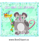 February 20th, 2014: Vector Clip Art of a Mouse Holding a Bee Wand Under Help Save the Honeybees Text by Bpearth