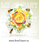 Vector Clip Art of a Natural Honey Flower with Bees by Merlinul