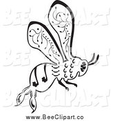 Vector Clip Art of a Ornate Black and White Bee Flying by Cherie Reve