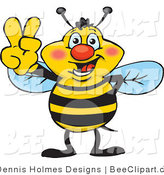 Vector Clip Art of a Peaceful Bee by Dennis Holmes Designs
