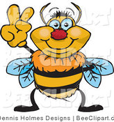 Vector Clip Art of a Peaceful Bee Gesturing by Dennis Holmes Designs