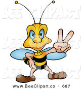 Vector Clip Art of a Peaceful Wasp Gesturing Peace Sign with a Straight Face by Dero