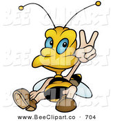 Vector Clip Art of a Peaceful Wasp Sitting and Gesturing a Peace Sign by Dero