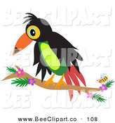 Vector Clip Art of a Perched Toucan by a Yellow BeePerched Toucan by a Yellow Bee by Bpearth