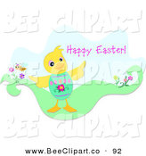 Vector Clip Art of a Pink Happy Easter Greeting with a Duck Wearing an Easter Egg Shell by